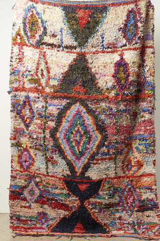 Vintage Large Moroccan Boucherouette Rug - 5'x 7'5""