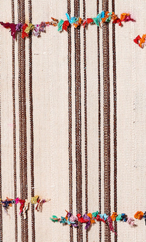 Vintage Turkish Kilim Striped Runner With Fabric #2