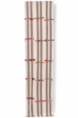 Vintage Turkish Kilim Striped Runner With Fabric