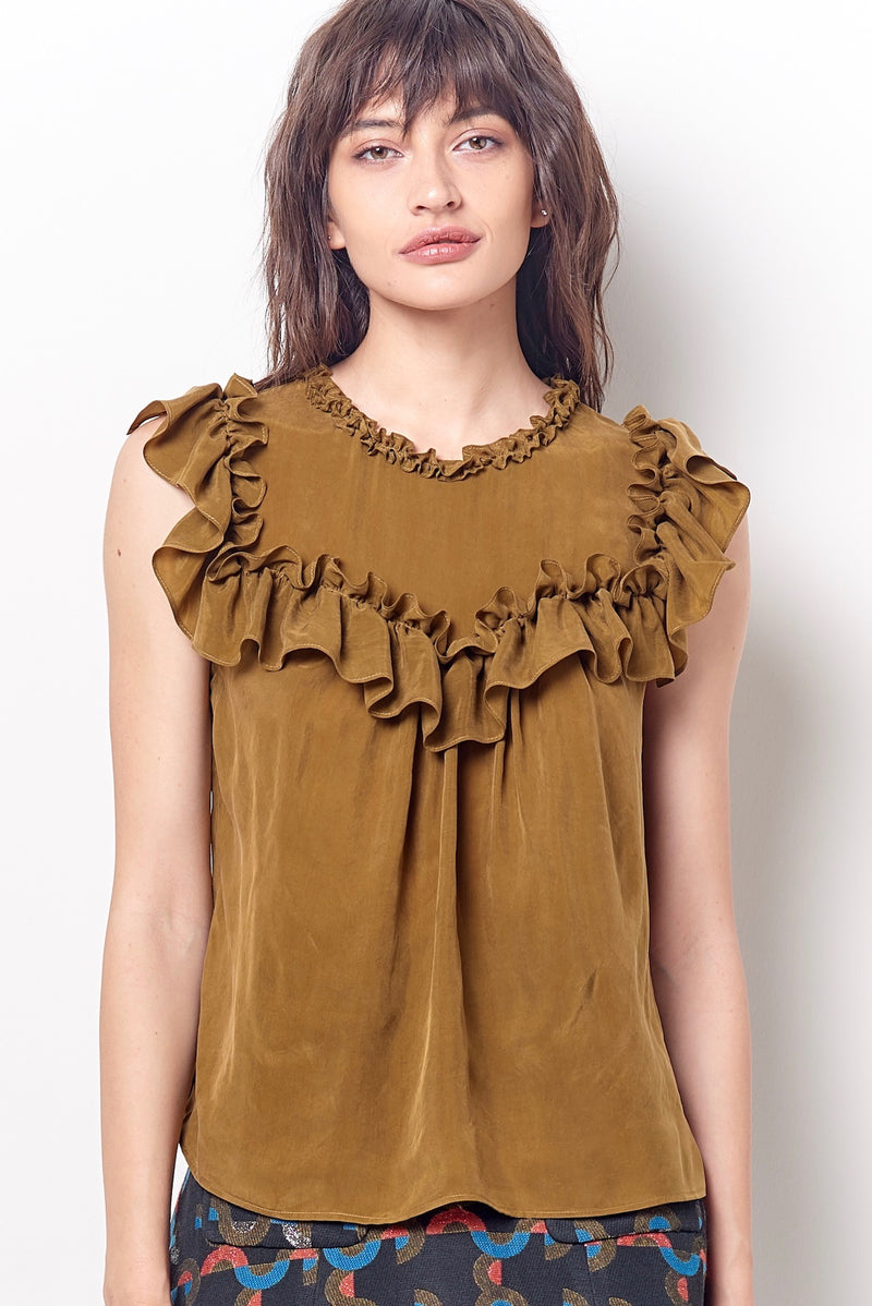 CASSANDRA Ruffle Yoke Shell Top