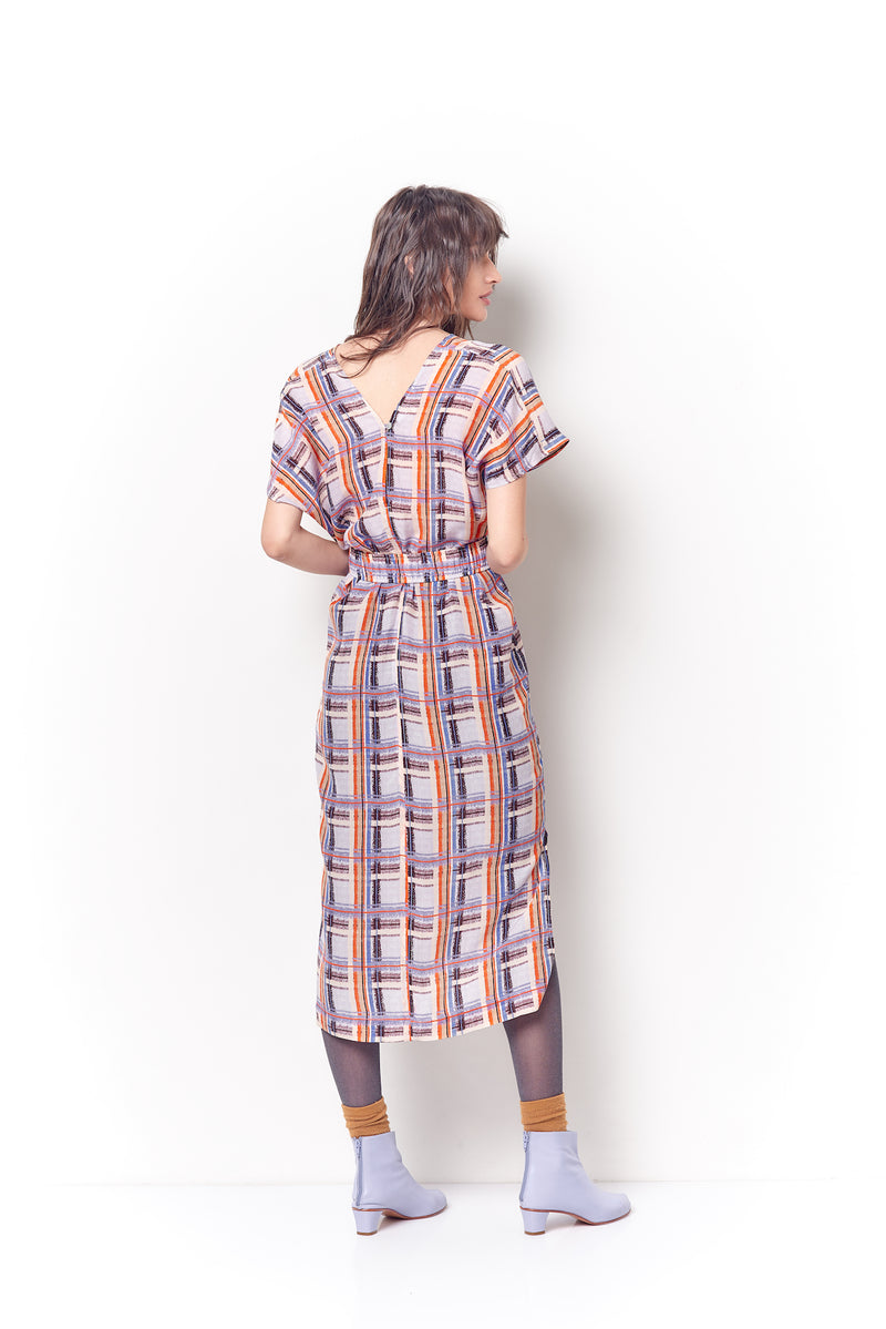 JULIE Double V Dress - Plaid