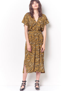 JULIE Double V Dress - Tiger