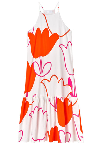 ZOLA Tulip Printed Halter Dress with Ruffle