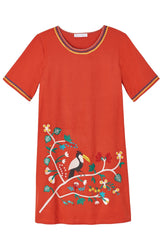 Toucan Embroidered Tee Dress