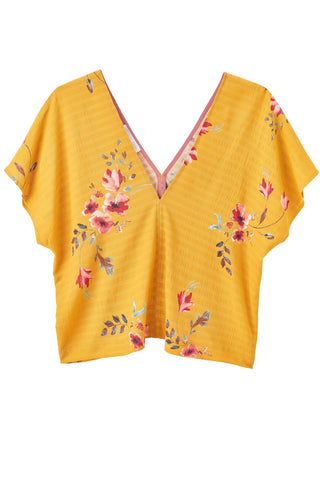 ANGELA V-neck Top-Floral