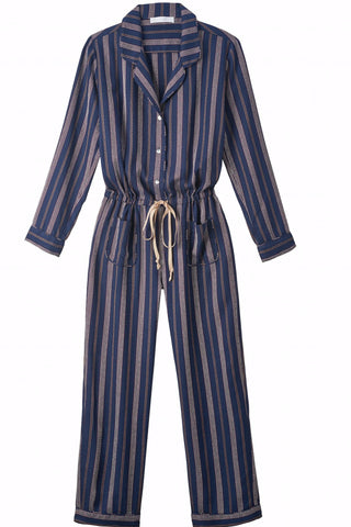 TALIA Striped Long Sleeve Button Up Jumpsuit