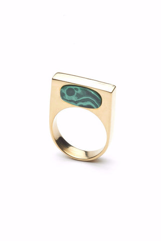 The CLC LOOK ring in Gold with Inset Malachite