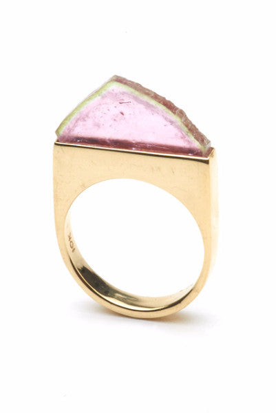 THE SUMMIT Ring in Gold with Watermelon Tourmaline 1