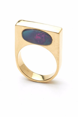 The CLC LOOK ring in Gold with Inset black opal