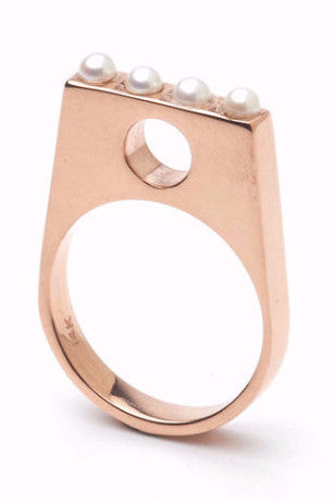 The CLC HARMONY Ring in 14ct Rose Gold with 3mm Pearls