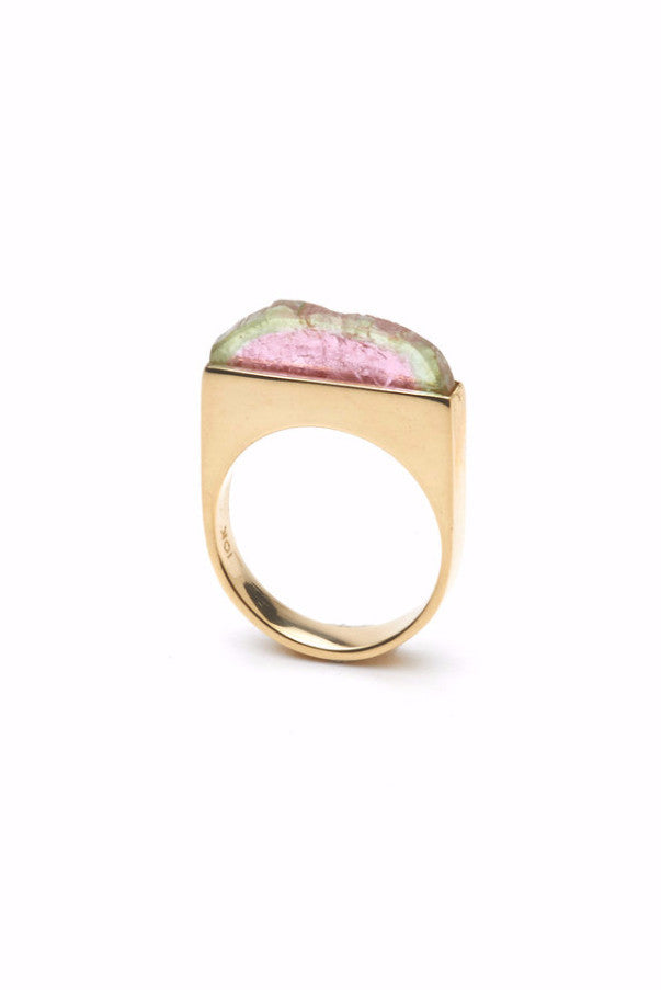THE SUMMIT Ring in Gold with Watermelon Tourmaline 2