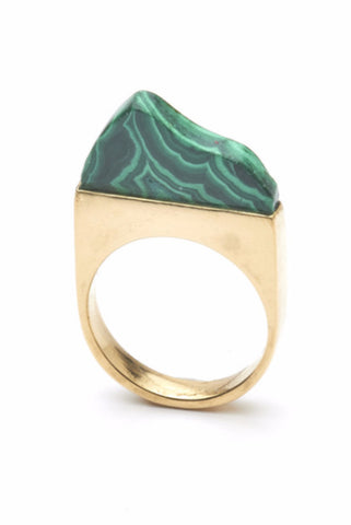 THE SUMMIT Ring in Gold with Malachite