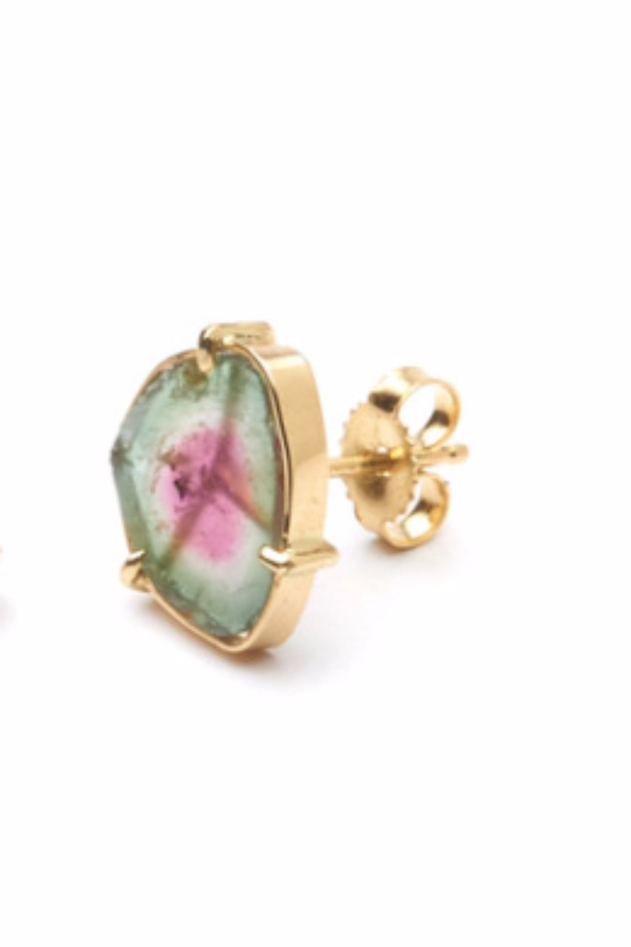 The CLC VECTOR Earrings in Gold with Watermelon Tourmaline