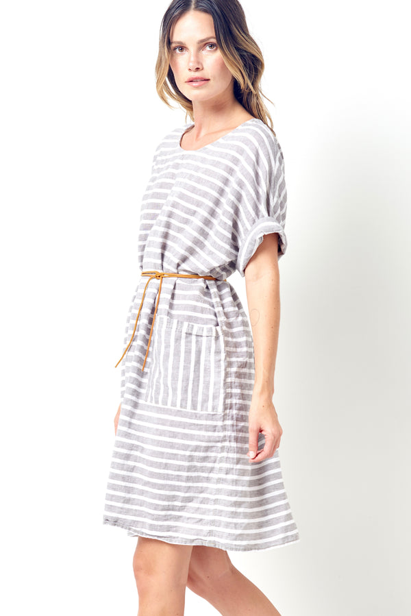 SELENA Relaxed Tee Style Dress-Stripe