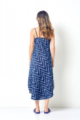SHARRON Ikat Slip Dress with Shell Embroidery