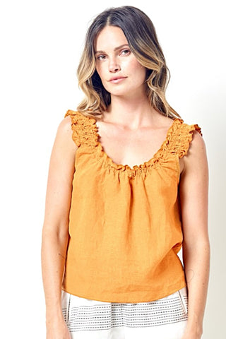 BONNIE Ruched Top in Linen