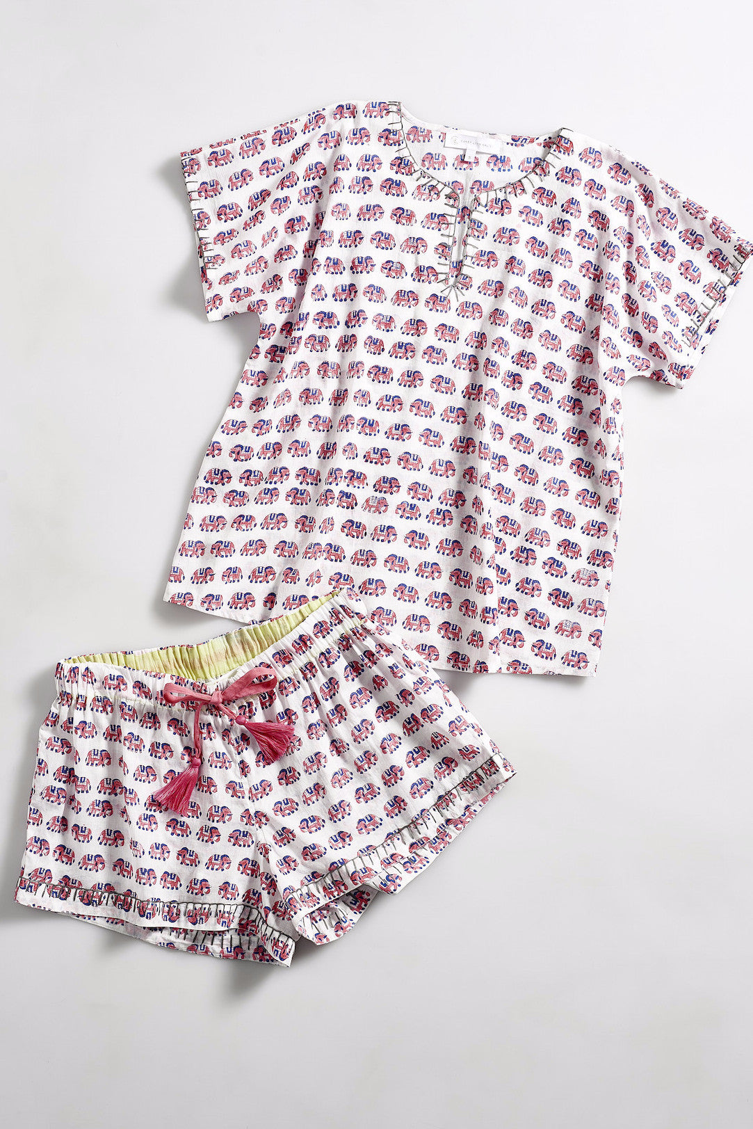 LAURA Cotton short set in Block printed elephant