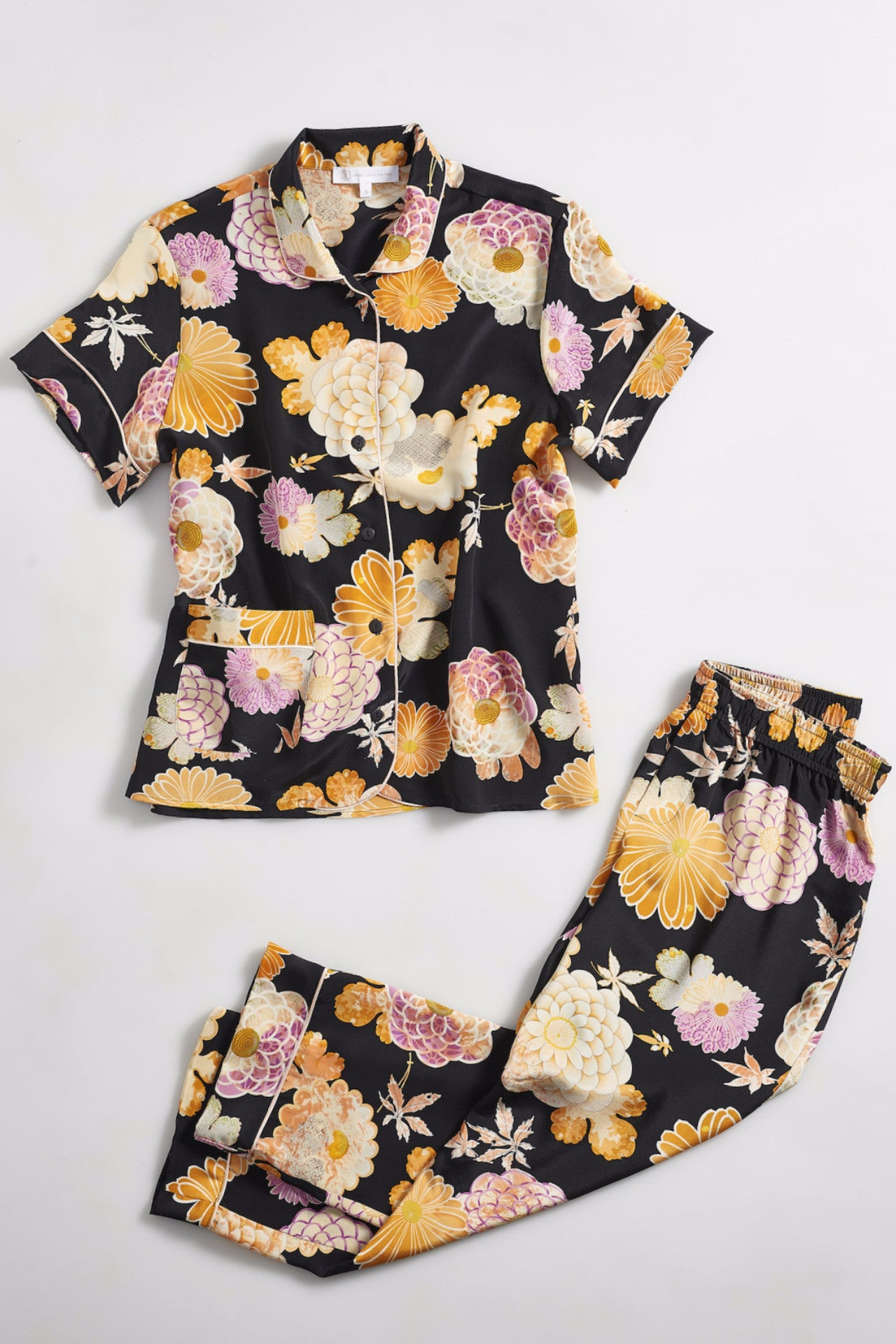 ARIANNA Silk classic short sleeve cropped set asian printed