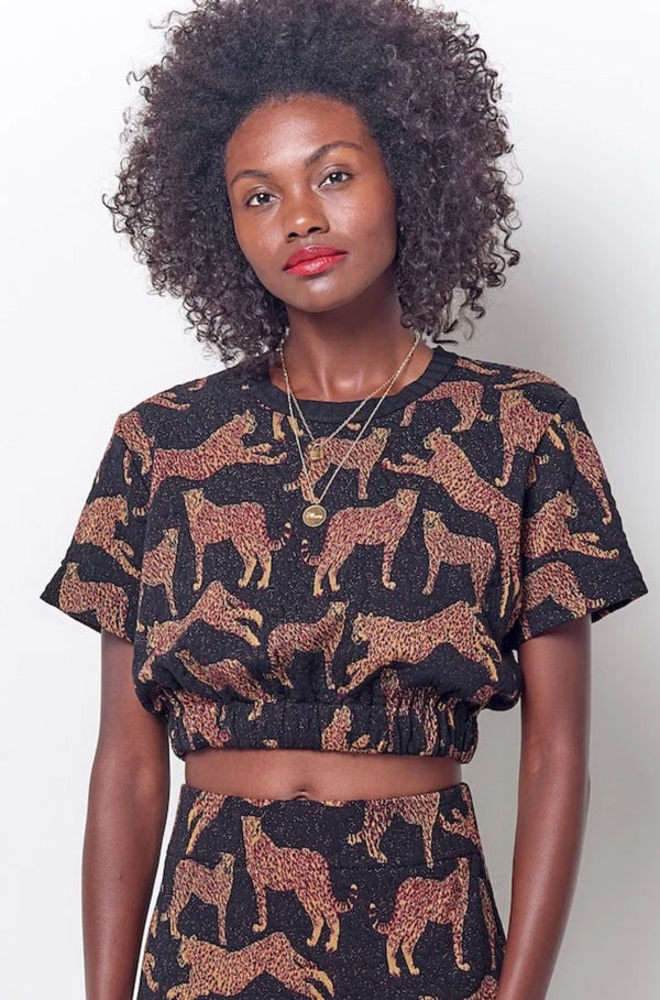 MAEVE Cropped Leopard Tee