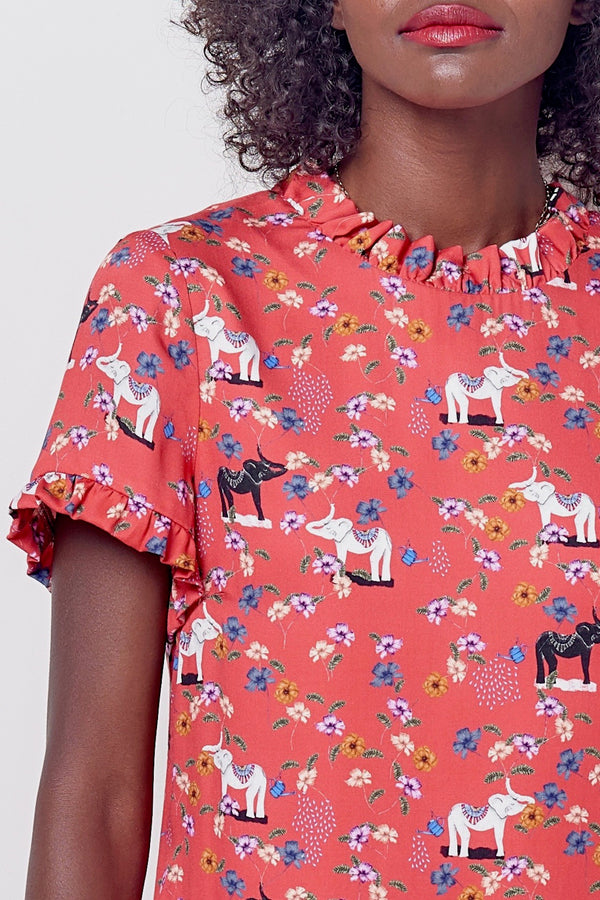 CLARA Mini Shift w/Ruffles - Elephant