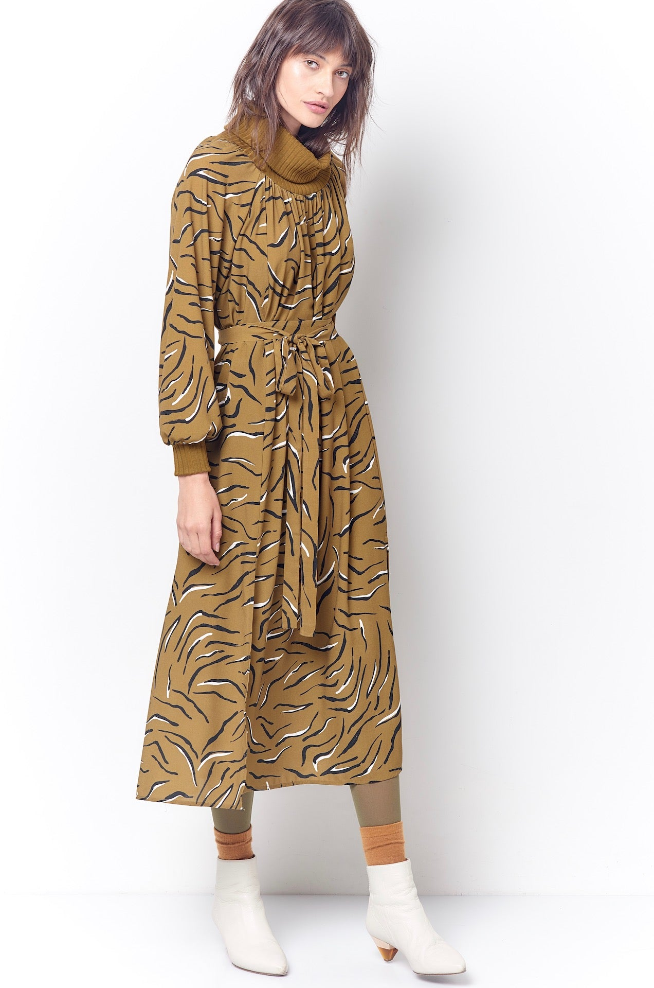 RITA Turtleneck Midi Dress - Tiger