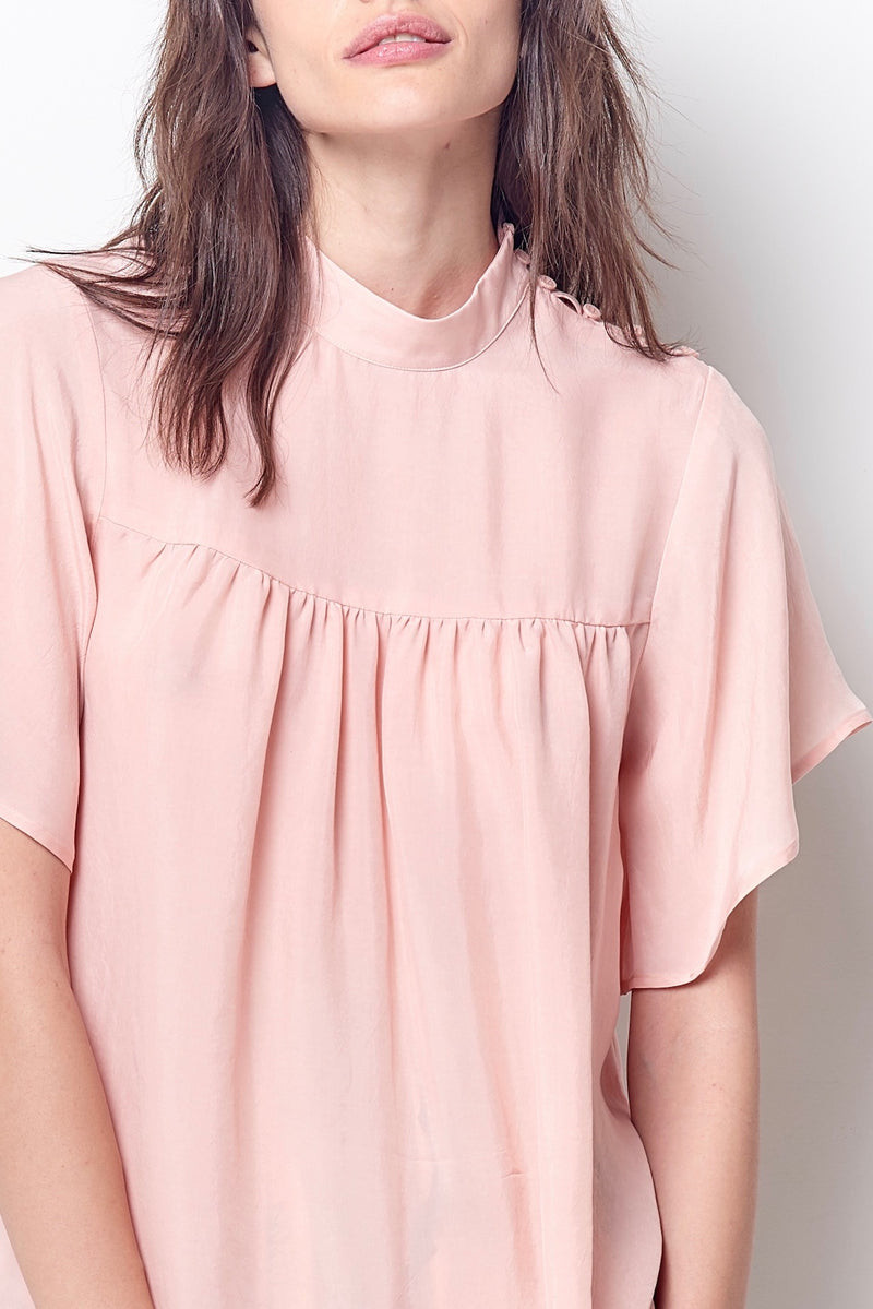 TAMARA High Neck Flutter Sleeve Blouse