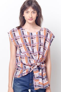 TINA Side Tie Top - PLAID