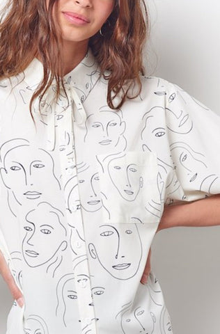 CATRIONA Button Down Shirt with Tie-Faces