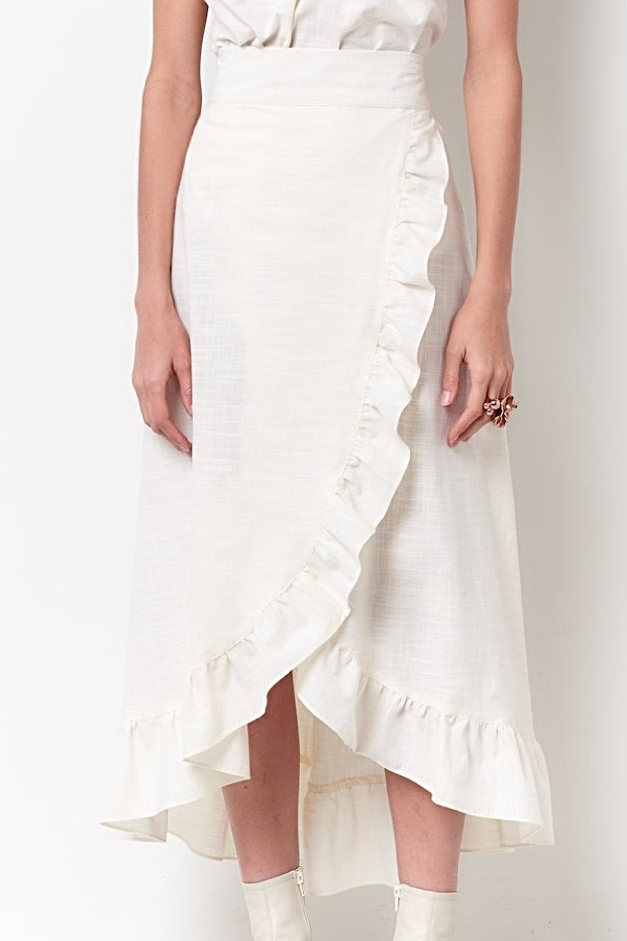 COURTNEY Ruffle Wrap Skirt-Ivory