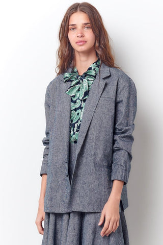 CATRIONA Button Down Shirt with Tie- Solid