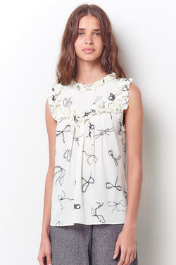 CASSANDRA Ruffle and Yoke Top-Bow Print