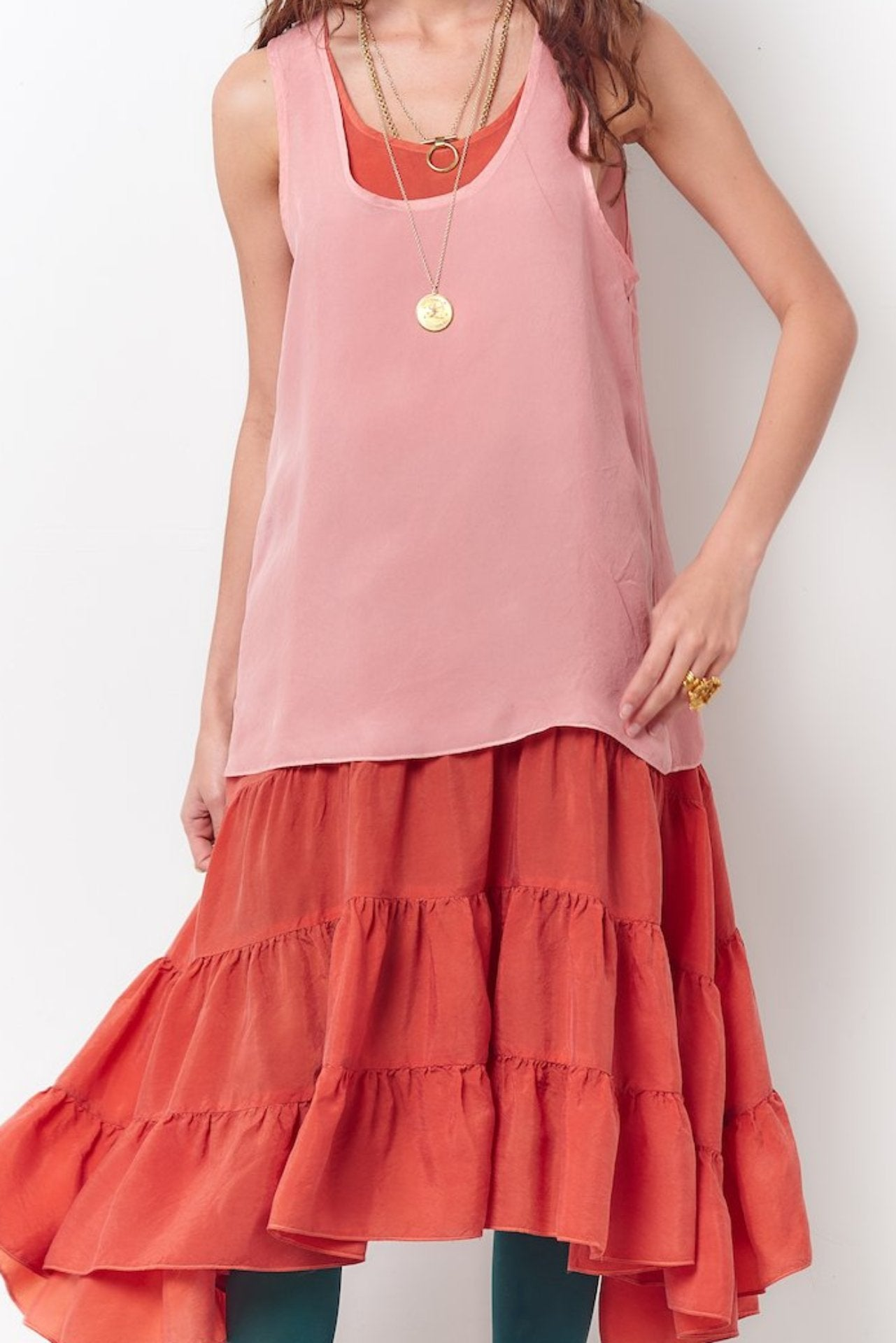 Women's red ruffle dress