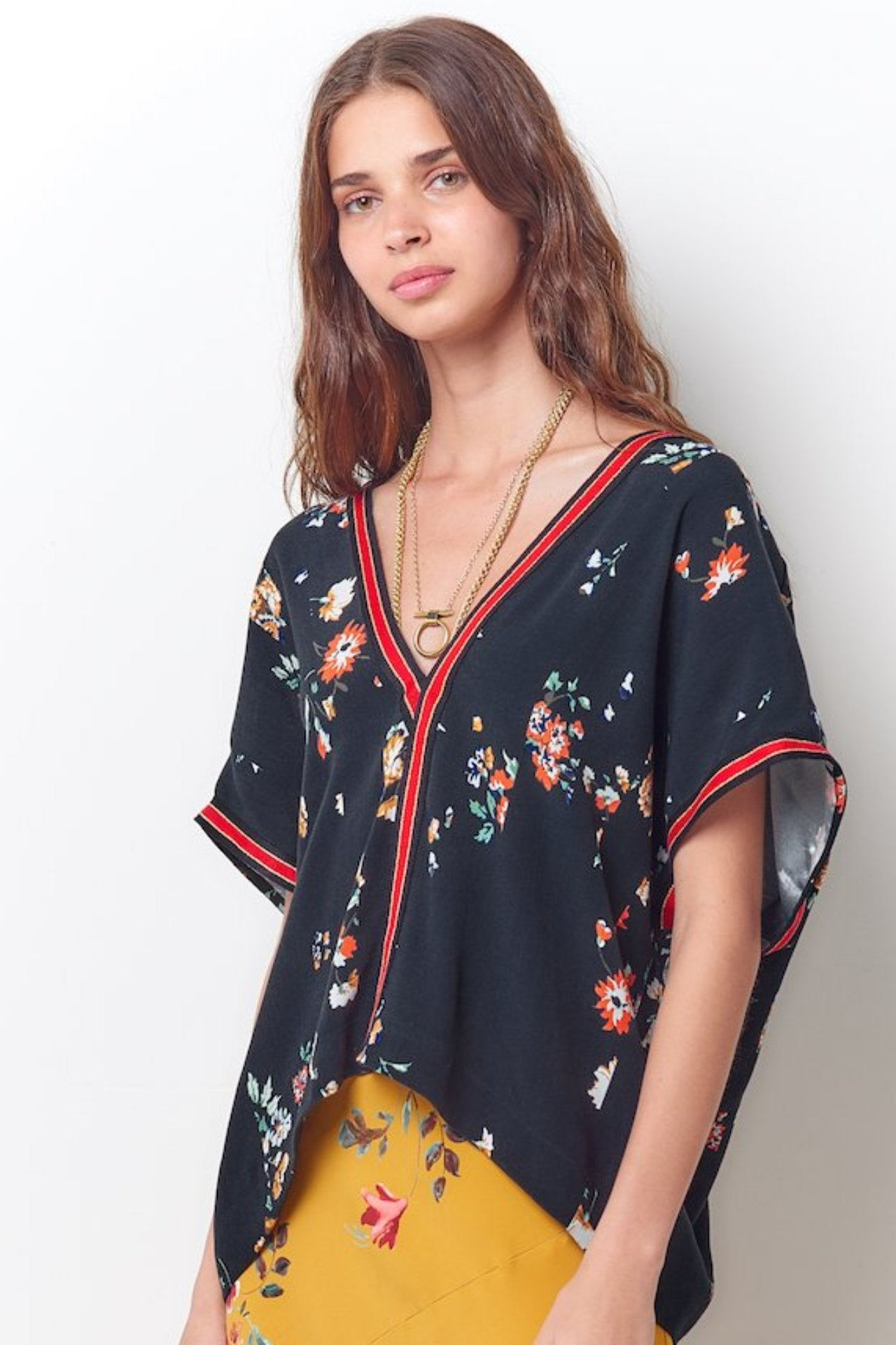 ANGELA V-neck Top-Black Floral
