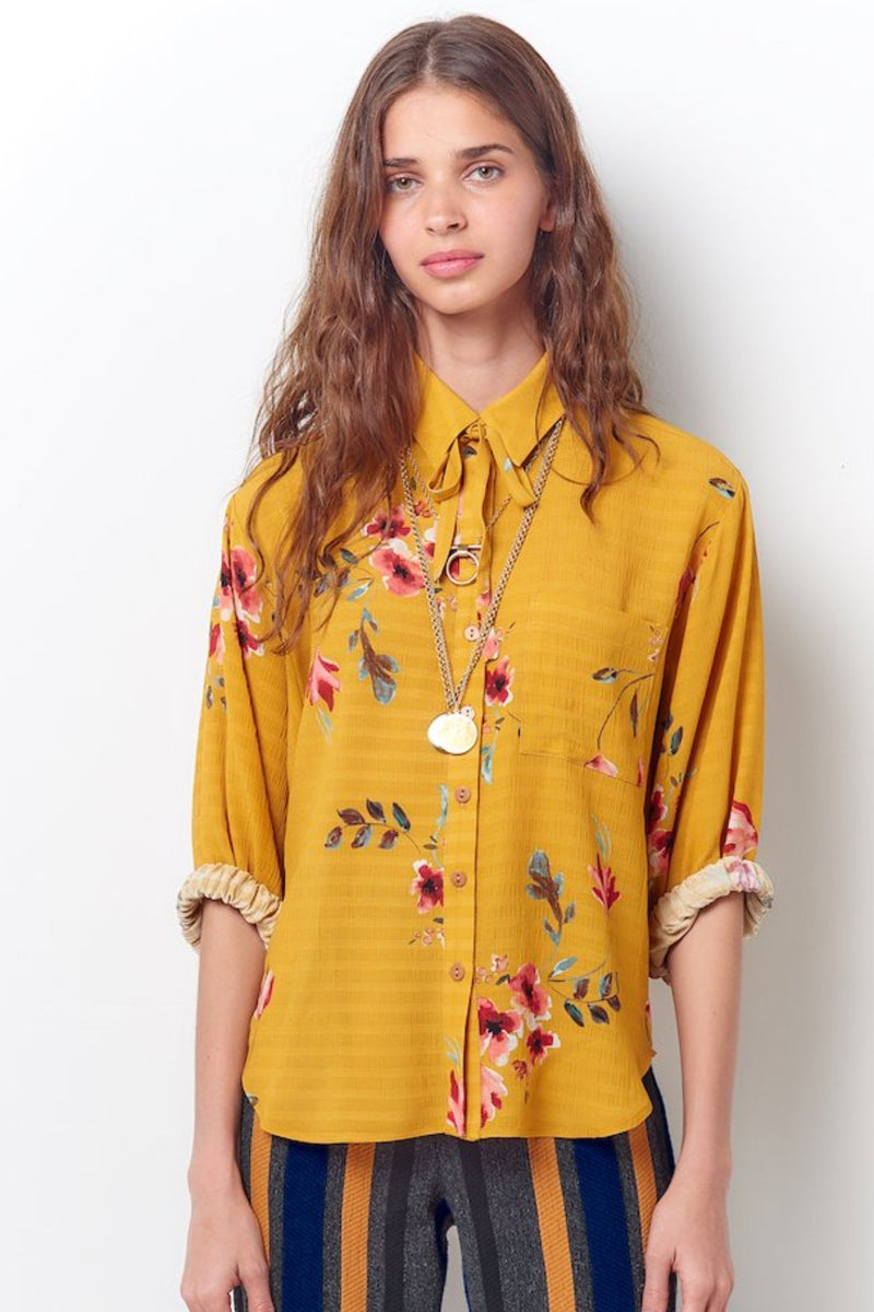 CATRIONA Button Down Shirt with Tie-Floral