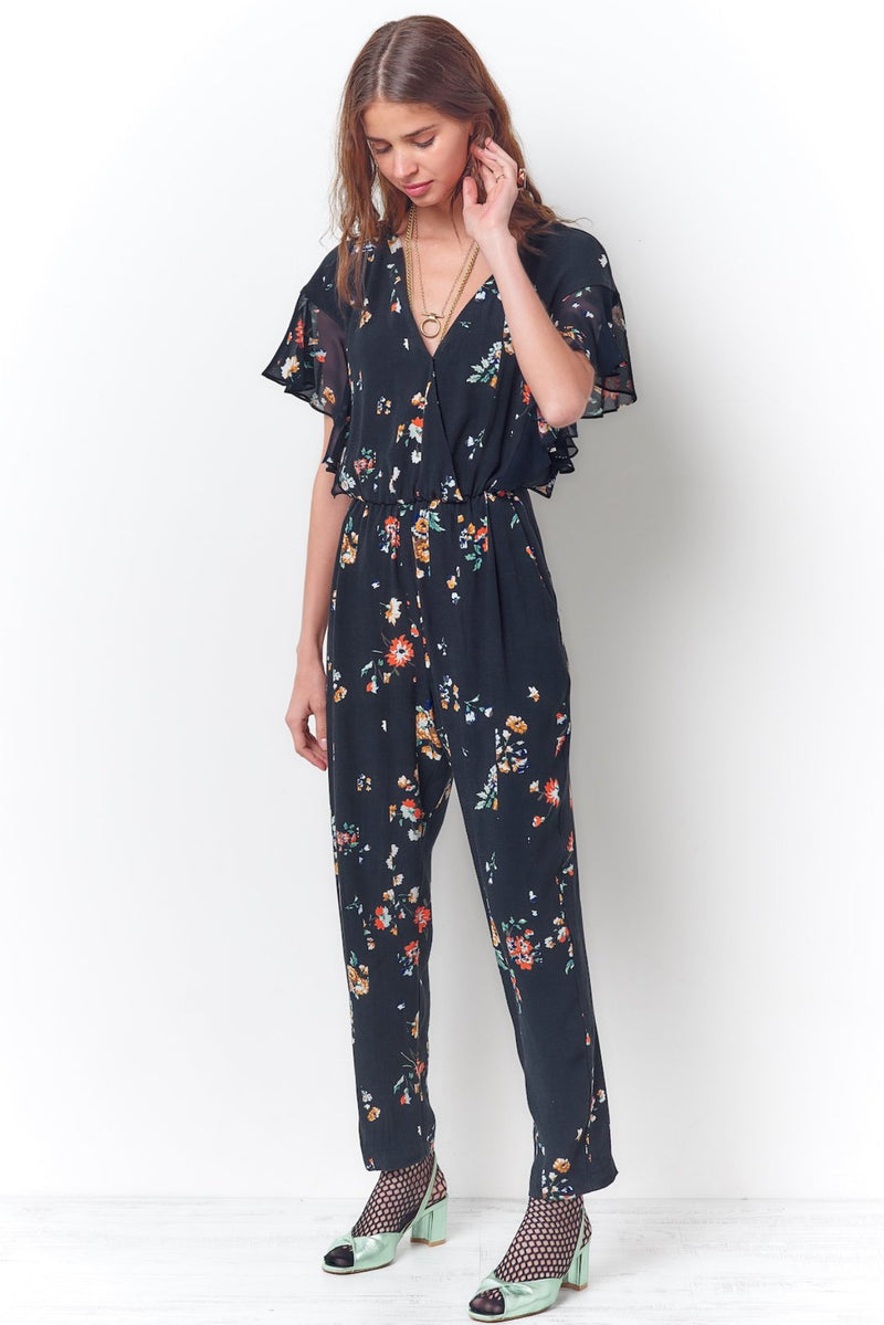 RITA Ruffle Shoulder Jumpsuit-Black Floral