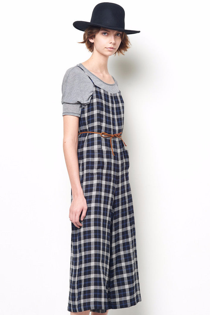 MARGO Plaid Spaghetti Strap Wide Leg Jumpsuit