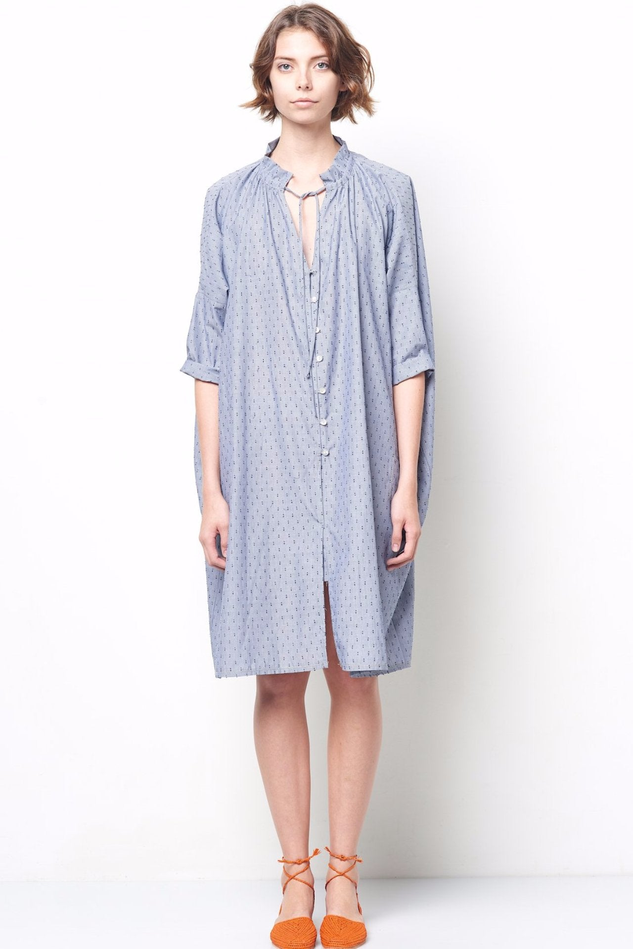 LISA Oversized Ruffle Neck Shirt Dress