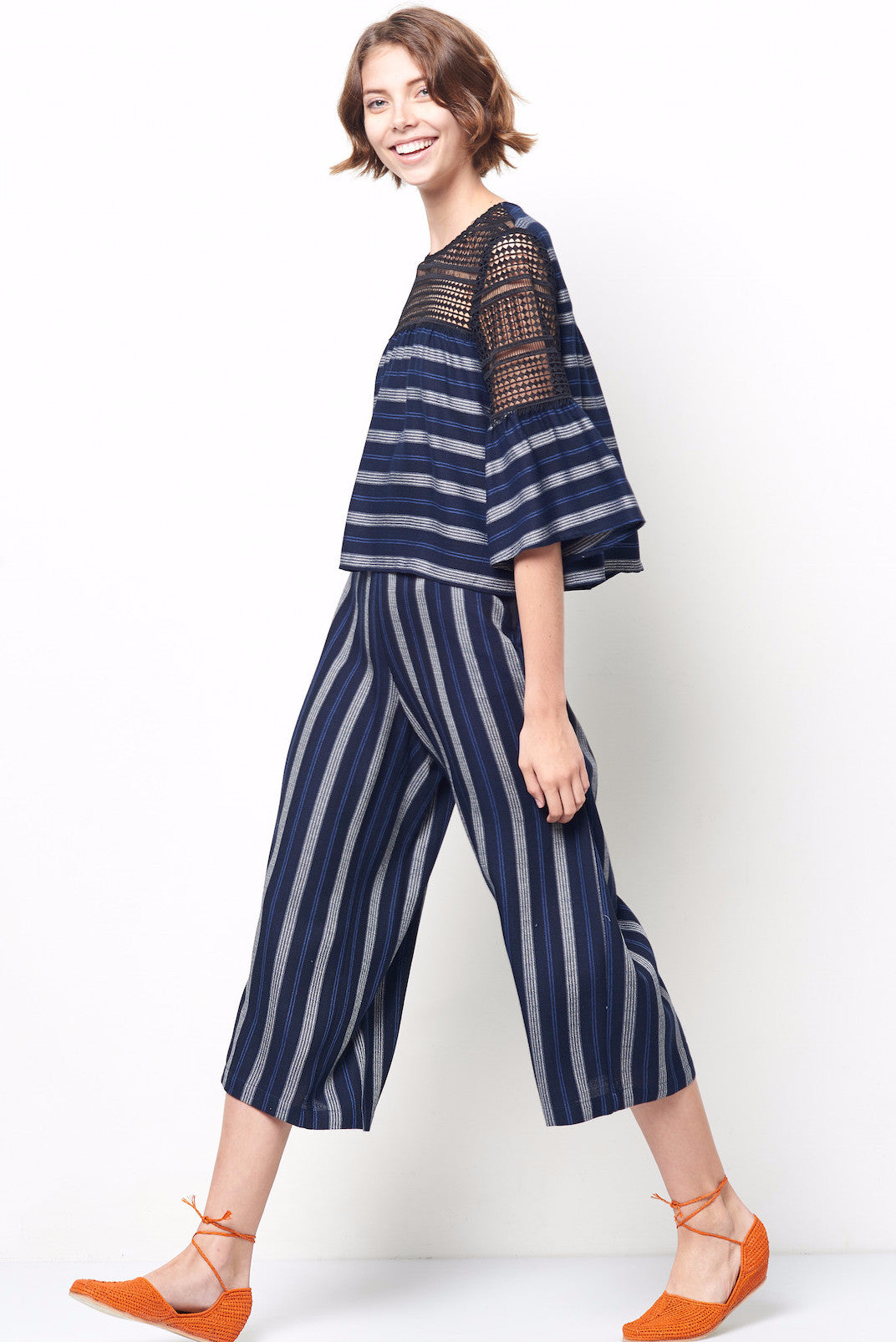 TYLER Wide Leg Crop Pant in Stripe