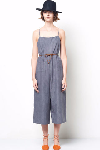 MARGO Light Denim Spaghetti Strap Wide Leg Jumpsuit