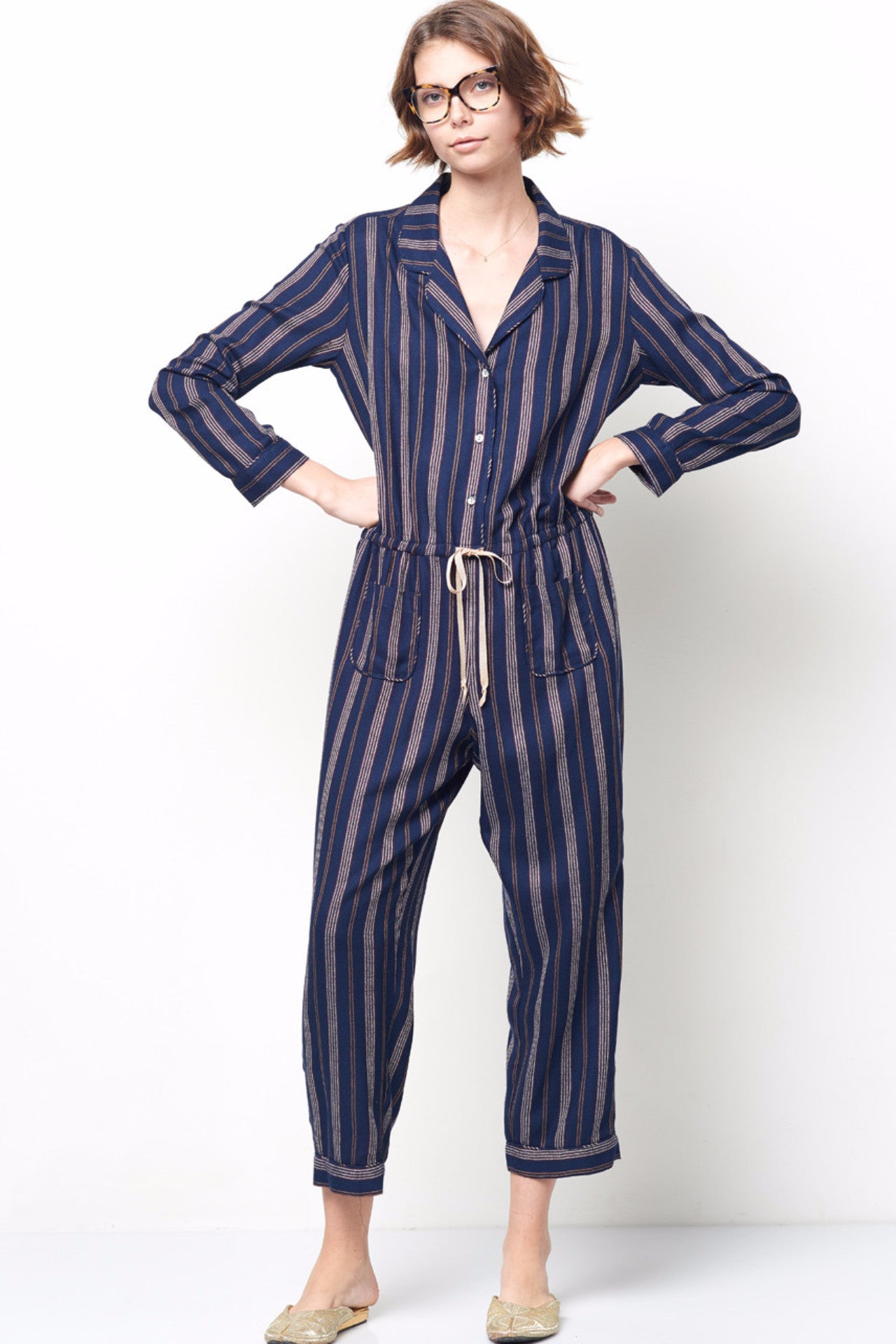 0d61b307959f TALIA Striped Long Sleeve Button Up Jumpsuit – CLC by Corey Lynn Calter