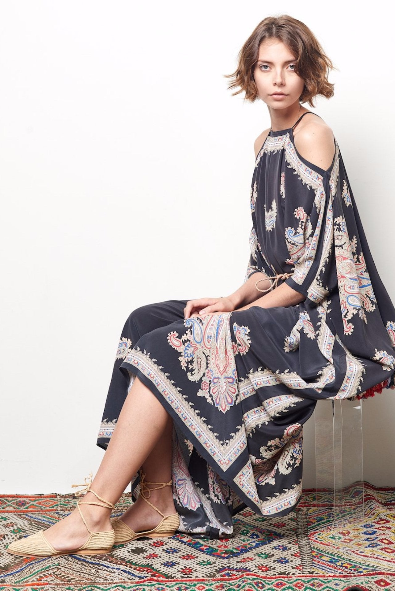 FELICIA Silk Scarf Kaftan Dress with Tie