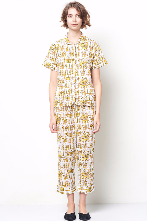ARIANNA Classic Short Sleeve Cropped Set Block Print yellow toile