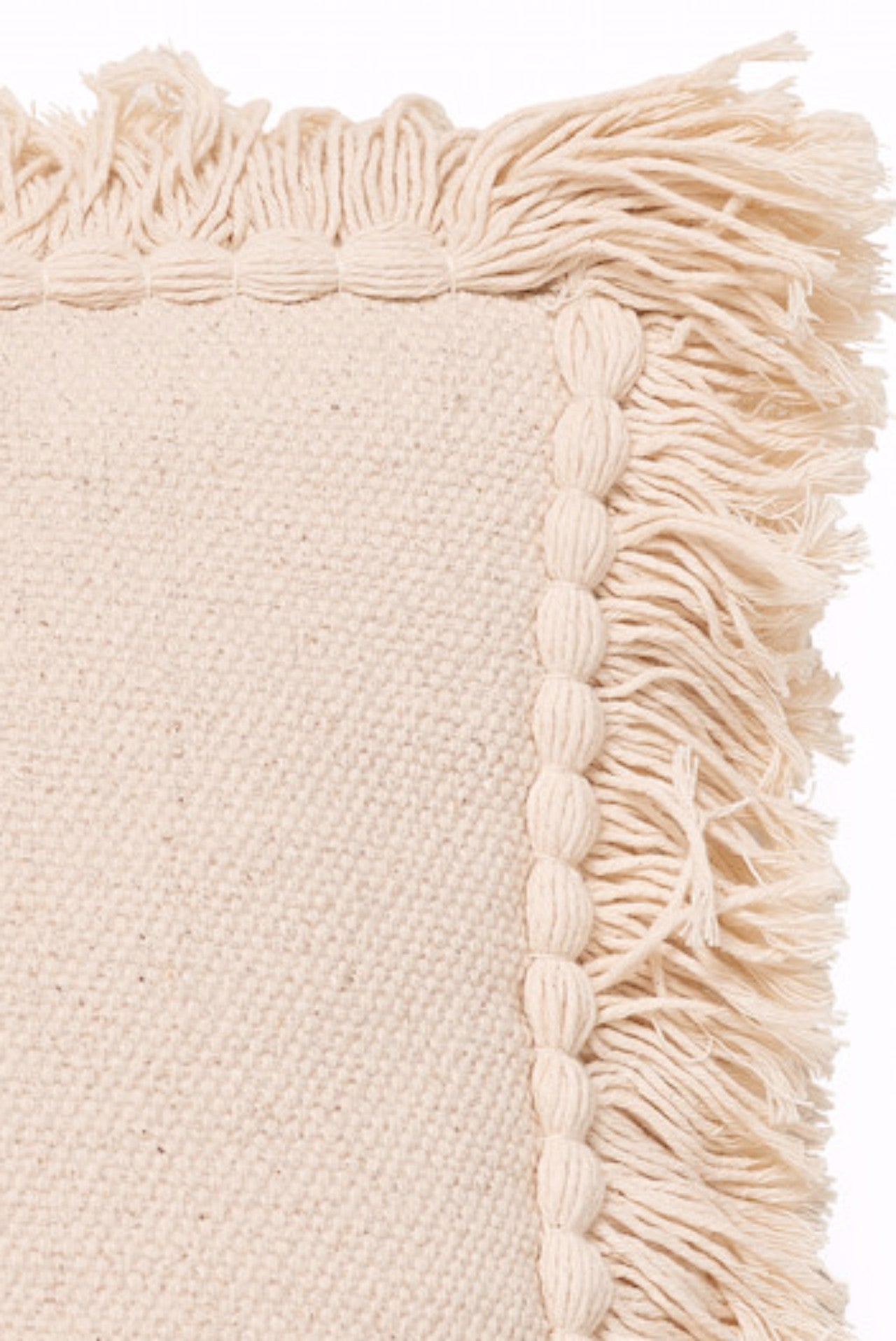 Handwoven Fringed Square Pillow Natural