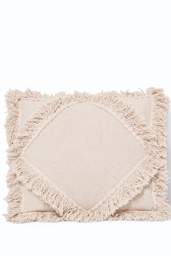 Handwoven Fringed Double Diamond Pillow Natural