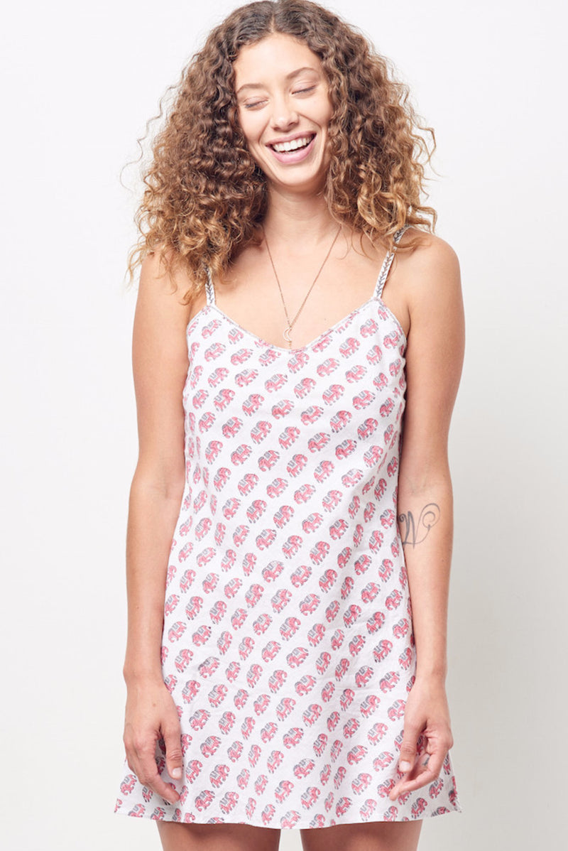 SHANA Cotton slip dress Block Printed Elephants