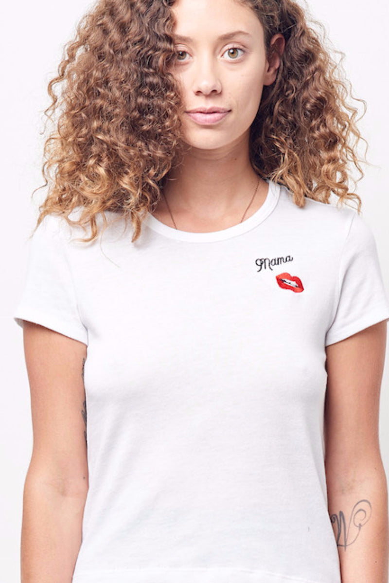 """MAMA"" Embroidered Crew Neck Tee"