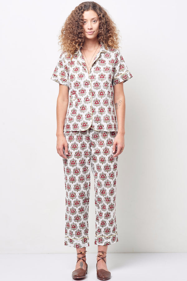 ARIANNA classic short sleeve cropped set Block print floral