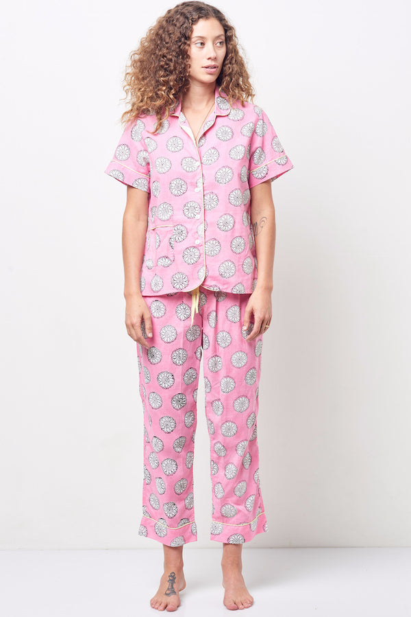 ARIANNA Classic Short Sleeve Cropped Set Block Print Pink Floral