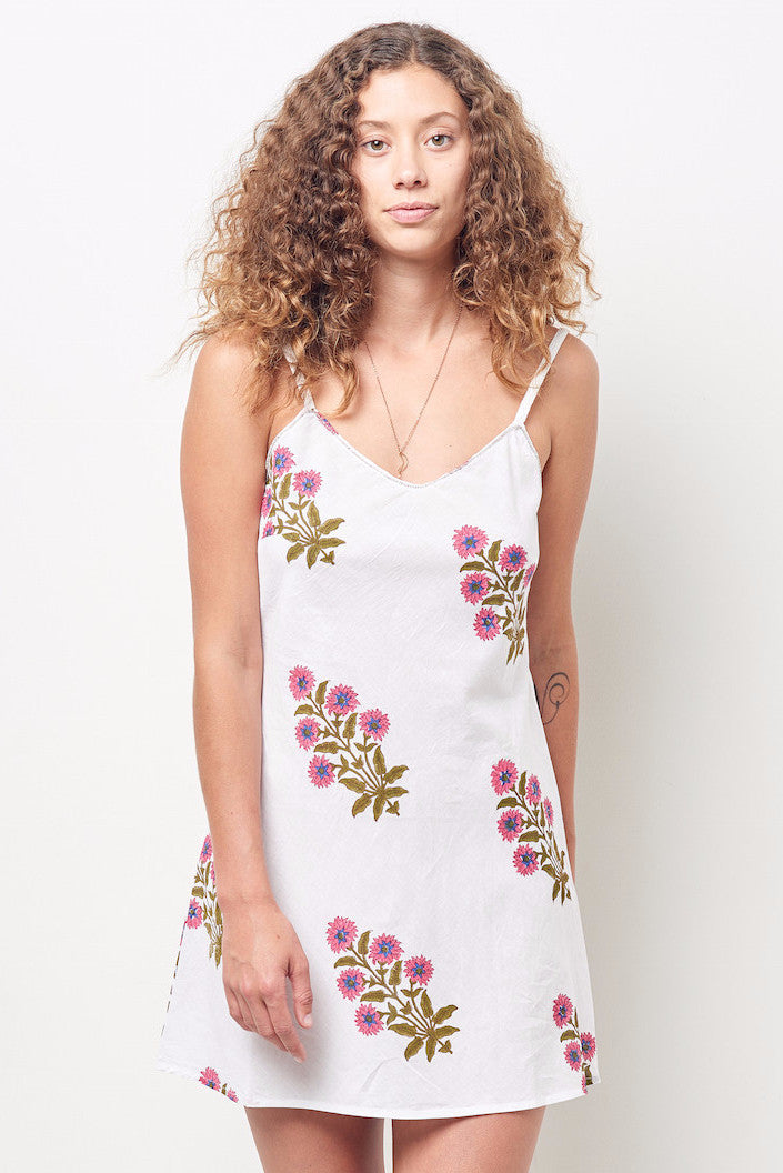 SHANA Cotton slip dress Block Printed floral