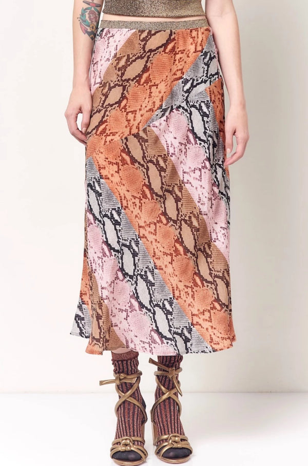 DEE Seamed Bias Skirt - Snake Stripe